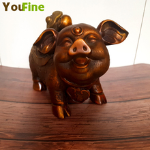 Chinese folk red bronze feng shui lucky wealth ingot pig sculpture wishful style decoration