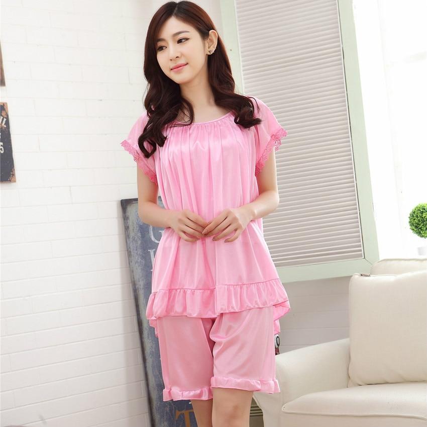 821a7f00d6 4XL Sexy Silk Satin Nightgowns Summer New Women s Pyjama Feme Ice Silk  Female Pajamas Sexy Lace short Sleeve Pyjamas Women 3XL-in Pajama Sets from  Underwear ...