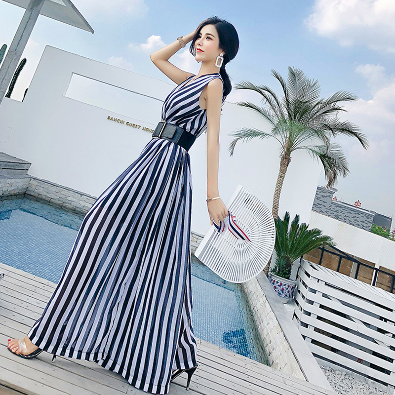 Sexy Nueva 2018 Beach Señora Mujeres Black Oficina Rayas Rugod Fajas Moda Chiffion Regular Completa Negro Rompers Y Mono xf45wP