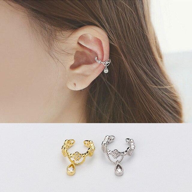 Miestilo No Piercing Jewelry S925 Sterling Silver Cartilage Flower Ear Cuff Earrings