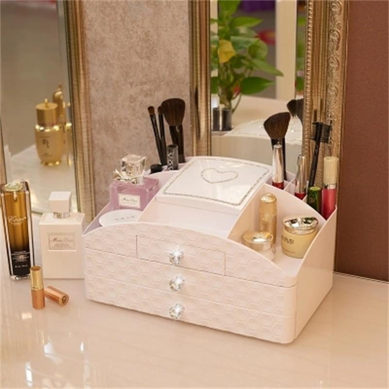 2018 MYSTICA ABS Three layer Plastic Makeup Drawers Storage Box Jewelry Container Make up Organizer Case Cosmetic Office Boxes