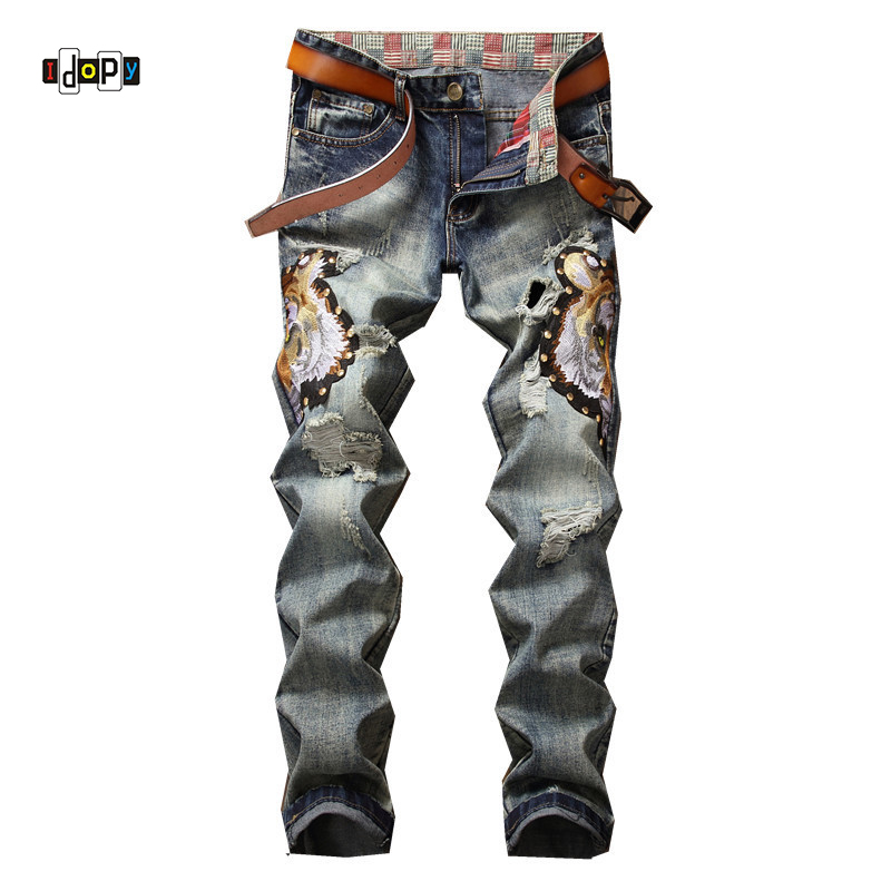 Idopy New Men`s Embroidery Jeans Personality Slim Vintage Retro Ripped Distressed Jeans Denim Pants For Men