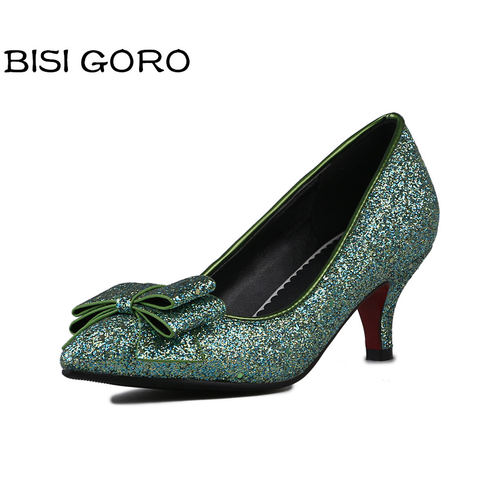 ФОТО BISI GORO women pumps stiletto heels dress shoes women pointed toe silver pumps ladies glitter heels shoes 2017 large size 34-48