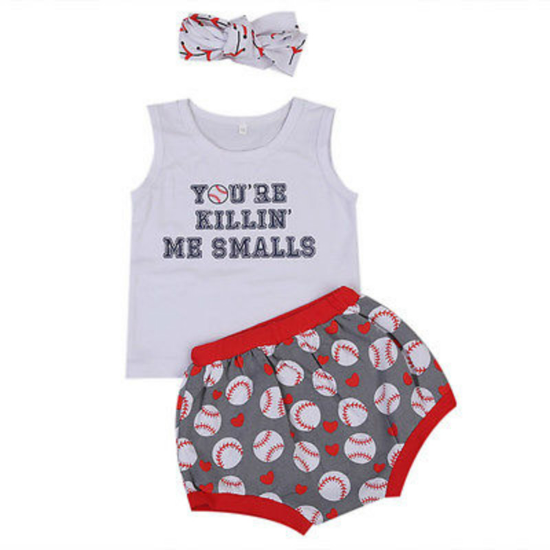 Kids Summer Clothes Set Baby Girls Toddler Cotton Baseball Print  Letter Vest Tops Short Headband 3PCS Outfits Sunsuit NEW 1-6Y 2pcs ruffles newborn baby clothes 2017 summer princess girls floral dress tops baby bloomers shorts bottom outfits sunsuit 0 24m