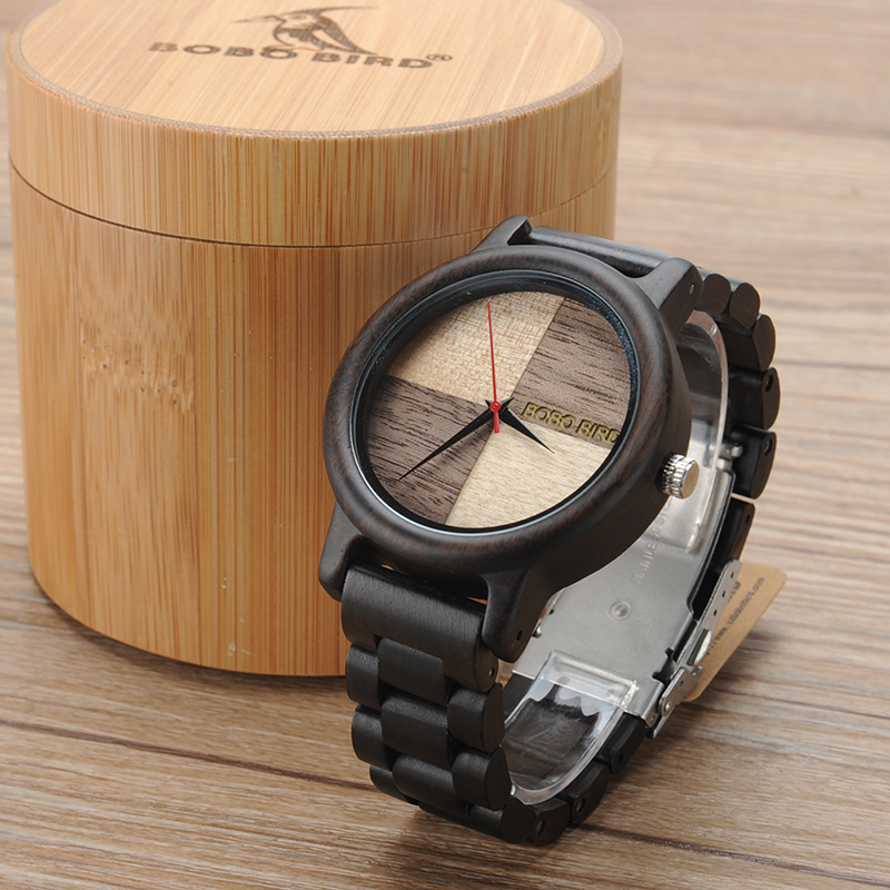 2017 Luxury Watch BOBO BIRD Wood Watches for Men Wooden Band Wristwatch with Bamboo Box relogio masculino B-N07