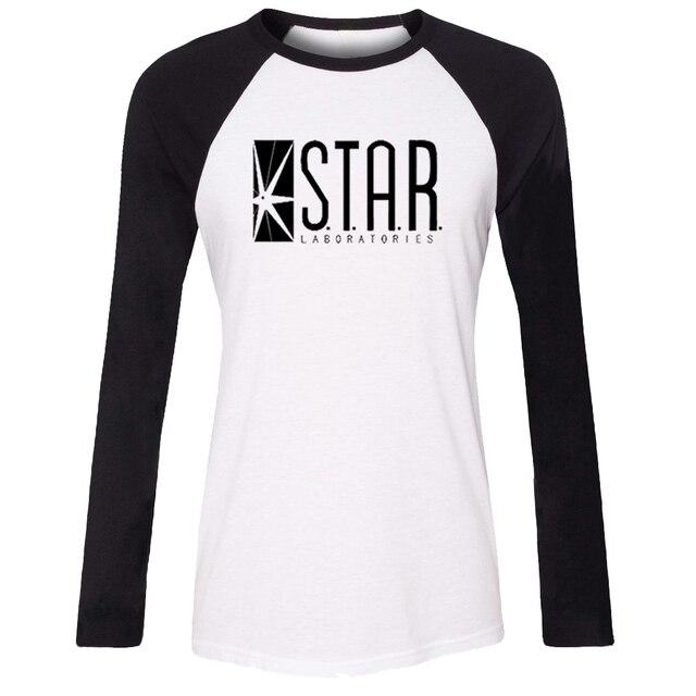 81d6ec88 iDzn Women's T-shirt STAR Laboratories The Flash TV Series S.T.A.R. Labs  Pattern Raglan Long Sleeve Girl's T shirt Lady Tee Tops