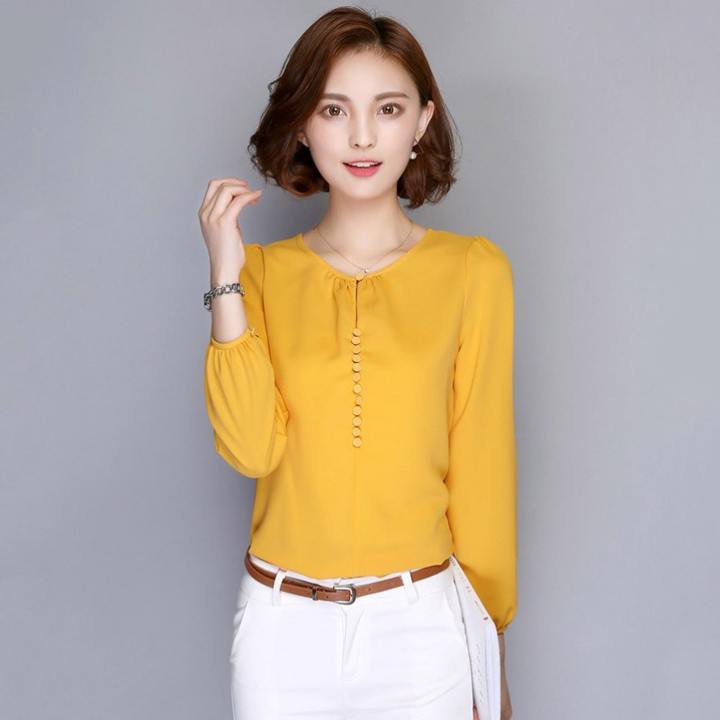 f2375e9e977fb Spring Autumn Women Korean Casual Loose Blouses Long Sleeve Chiffon Blouse  Shirt Elegant Ladies Tops White Pink-in Blouses & Shirts from Women's  Clothing on ...