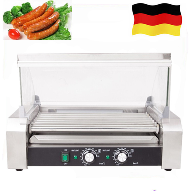 Commercial 11-roller Hot Dogs Grill Automatic Electric Stainless Steel Hotdog Heating Equipment On Sale