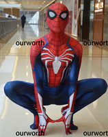 PS4 Spiderman Costume Spandex Print Tight Newest Spiderman Cosplay Costume kids/adult In Stock