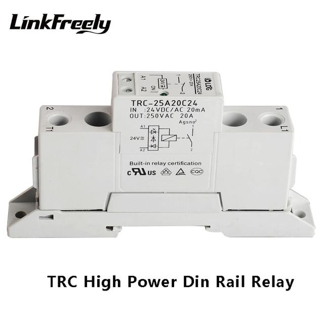 TRC-25A20C24 고전력 din 레일 릴레이 24vdc/ac 20ma 입력 250vac 20a 출력 소프트 시동 전자기 접촉 릴레이 모듈