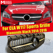 For W117 mesh ABS Gloss Black Without emblem Diamond grille Benz CLA180 CLA200 CLA250 CLA45 Front Grille 2016-in
