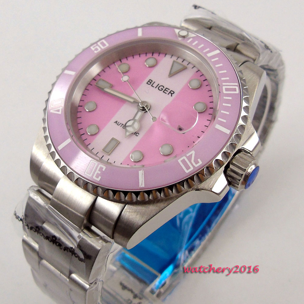 2018 New Top brand 40mm Bliger Pink dial Date window SS Case Sapphire Crystal Luminous Hands Automatic Mechanical Mens Watch2018 New Top brand 40mm Bliger Pink dial Date window SS Case Sapphire Crystal Luminous Hands Automatic Mechanical Mens Watch