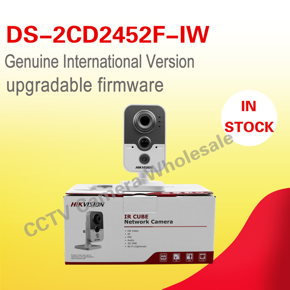 Free shipping DS-2CD2452F-IW English version 5MP mini Cube IP CCTV Camera wifi POE 10m IR two-way audio dhl free shipping english version ds 7108ni e1 v w embedded mini wifi nvr poe 8ch for up to 6mp network ip camera