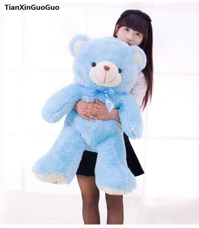 Brinquedo de pelúcia urso de pelúcia boneca urso grande 100 cm azul lance macio travesseiro, presente de aniversário h0647