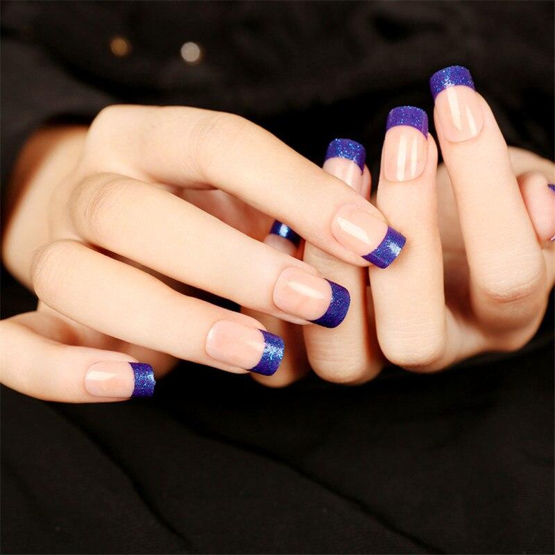 24pcs free glue Pre Design short Fake Nails French False Nails green ...