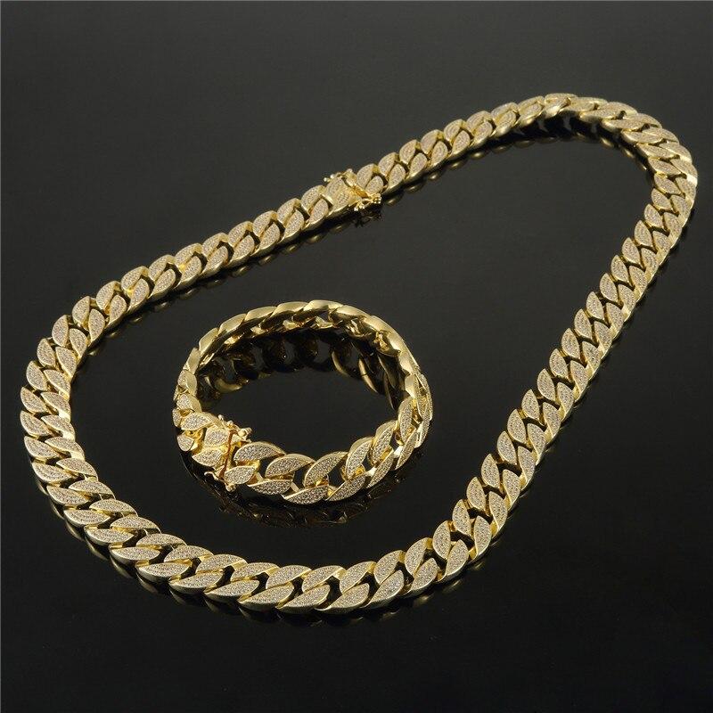 Men Zircon CZ Stone Jewelry sets Bling Hip Hop Chains Golden Rhinestone Finish Miami Cuban Women Necklaces & Bracelets SetsMen Zircon CZ Stone Jewelry sets Bling Hip Hop Chains Golden Rhinestone Finish Miami Cuban Women Necklaces & Bracelets Sets