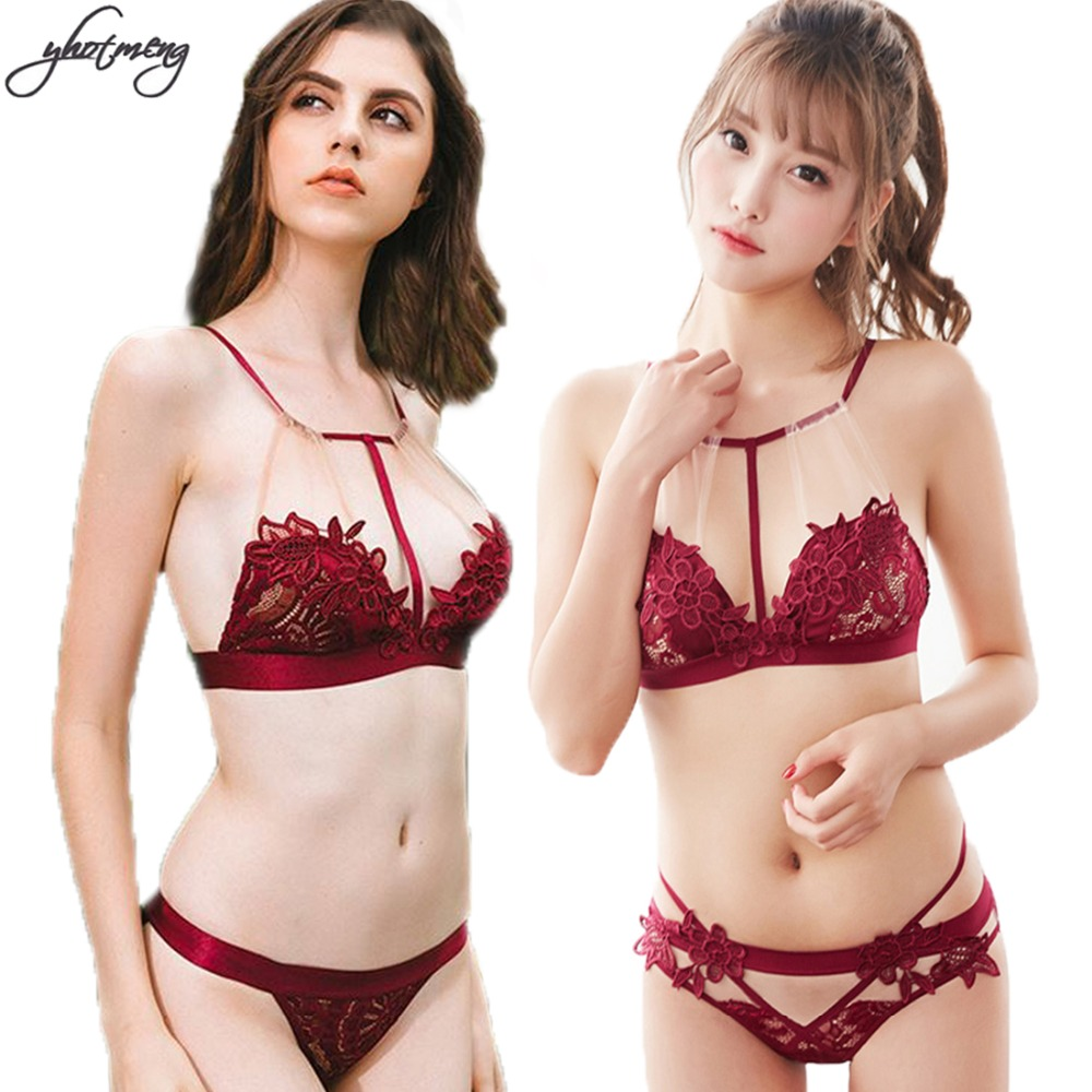 Yhotmeng sexy ultra thin deep v hanging neck bra sets transparent embroidered mesh lingerie women lace bra set underwear women in Bra Brief Sets from Underwear Sleepwears