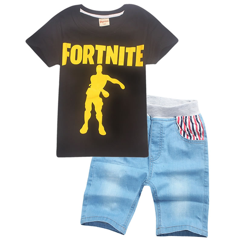 retail Fortnite Tshirt for Girls Baby Boys Short-sleeved Camisetas Game Figure Printing Summer Kids Clothing Pure Cotton Shirt