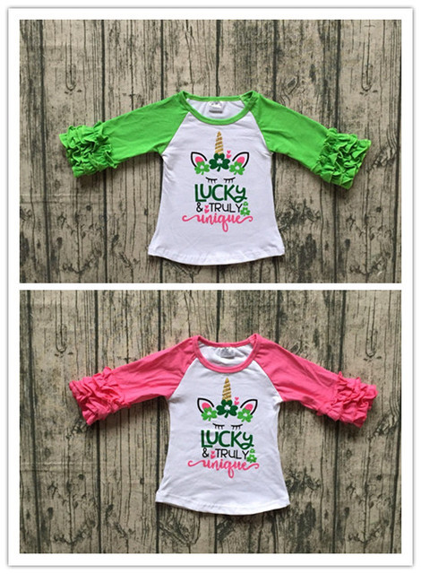 c937ad7e6 2designs in stock baby girls raglan tops St Patrick day raglan girls luck  and truly unique