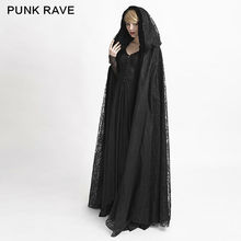 Punk Rave Long Gothic cape Black Witch Vampire Victorian Lace sexxy Jacket Y4Z