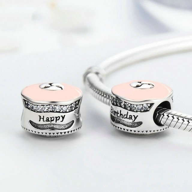 Authentic 925 Sterling Silver Happy Birthday Cake Charm Enamel Clear