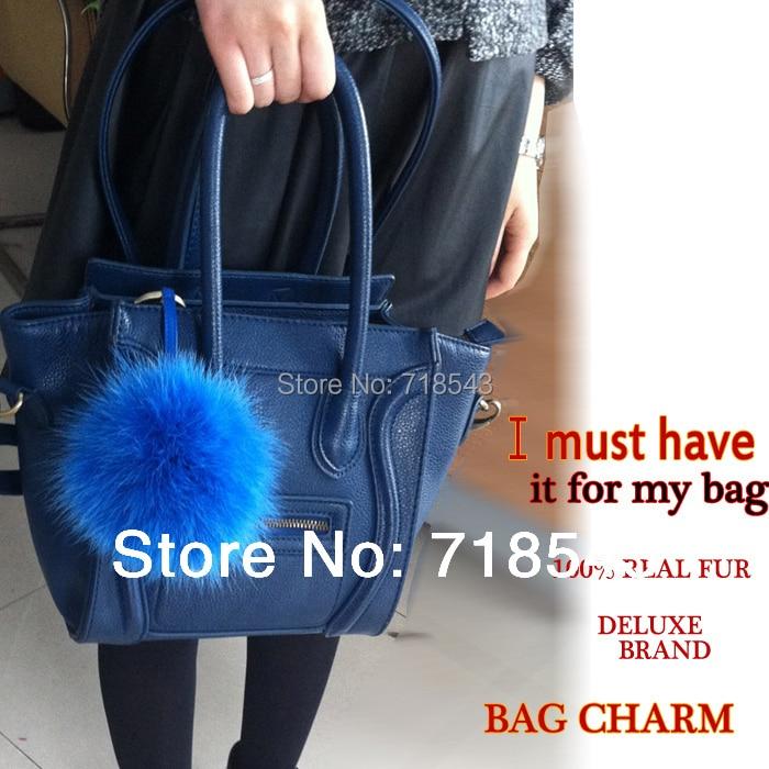 Markenmode Luxus Tasche Charme Big White Fox Pelz Pom Poms mit echtem - Bekleidungszubehör - Foto 4