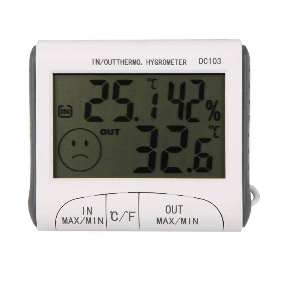 LCD Digital Thermometer Hygrometer Moisture Meter and Wired Temperature with External Sensor White фонтан фен шуй с подсветкой 3 1036617