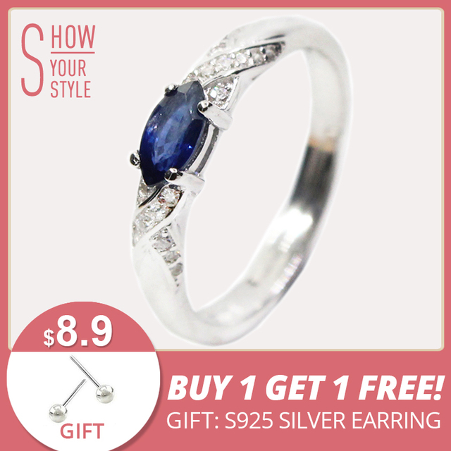 Hotsale natural sapphire ring 3*6mm natural sapphire gemstone silver ring solid