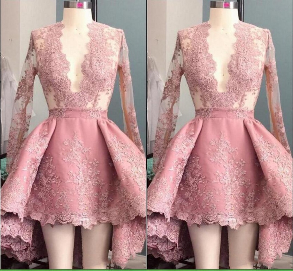 Dusty Pink   Evening     Dress   Short Robe De Soiree   Evening     Dresses   Formal   Evening   Gowns Sexy Deep V Applique Pleat Party Gowns