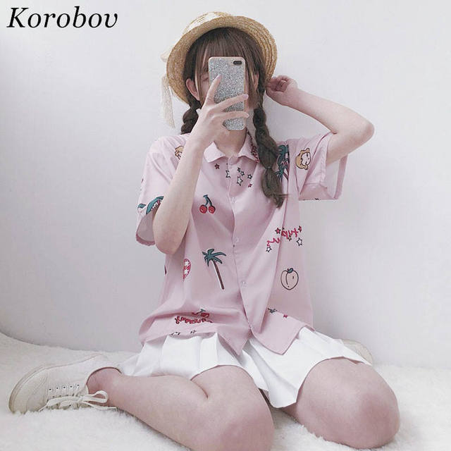 Korobov Woman Causal Shirts Japanese Short Sleeve Blouse 2018 Summer Cherry Children's Interesting Print Tops Sweet Shirt  35085 by Korobov