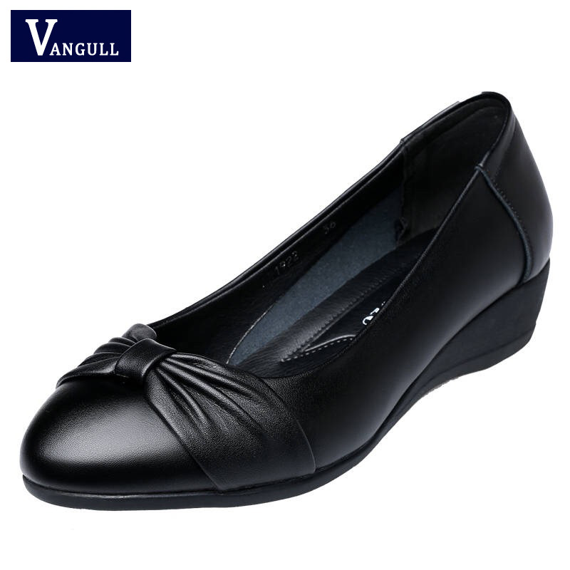 VANGULL Woman Wedge Single Shoes Black Women Work Pumps Shoes Spring Autumn New Women Fashion Mid Heels  Free Shipping