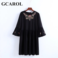 GCAROL New Arrival Embroidered Floral Women Dress Flare Sleeve Vintage Dress 3/4 Sleeve High Waist Pleated Black Female Dress