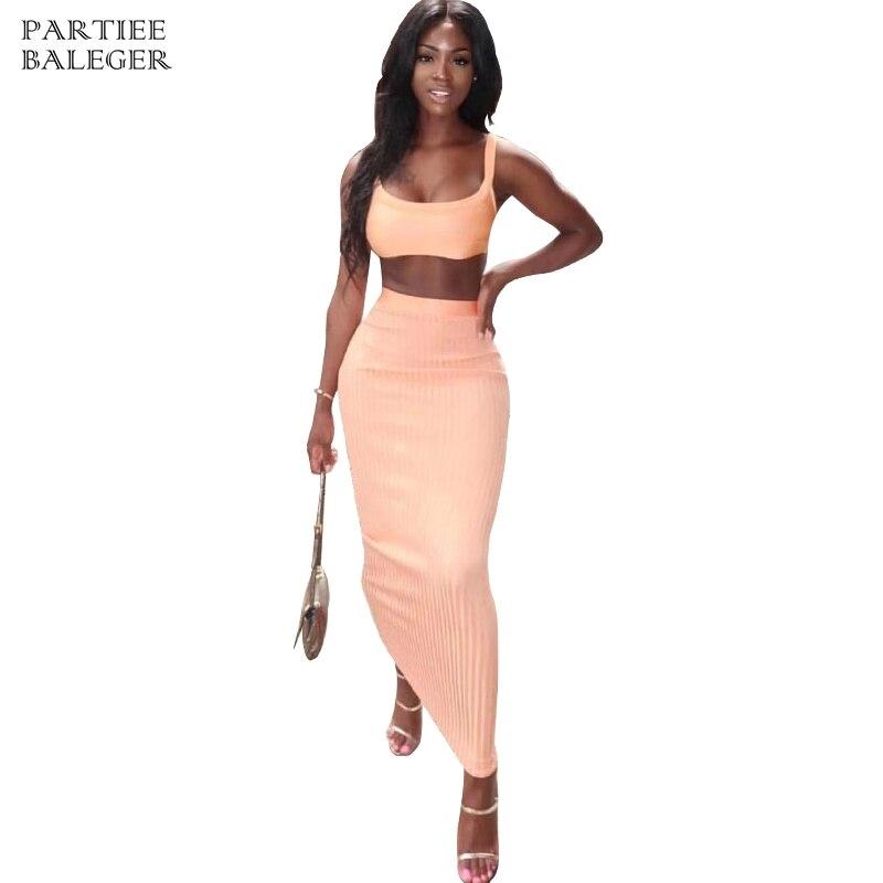 Wear Sans Peach Nouvelle Deux Nu Pêche Manches 2019 Sexy Party Jupe Pièces Celebrity Carré Longue Chic Dos Club Costume Arrivée Bandage Col qf1nIa