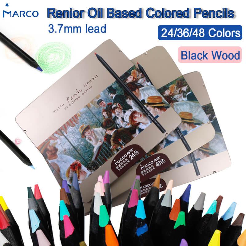 Marco 3200 Renoir lápiz de color a base de aceite madera negra Polychromos lápices para arte profesionales de dibujo con caja de lata suministros de arte Luz de fibra óptica de 41cm de ancho con controlador colorido pmma plástico led fibra óptica ABS lámpara de iluminación de cristal IL