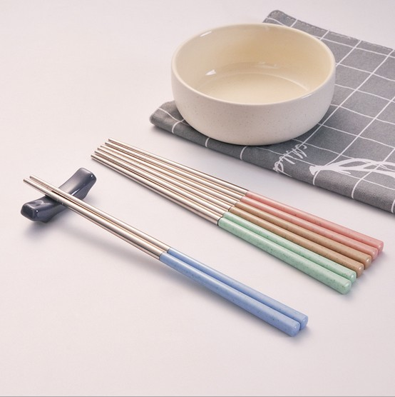 10pairs/Lot Household Tableware Portable Chopsticks Wheat Element Slip-resistant S/Steel Chopsticks Flatware Set KV 032