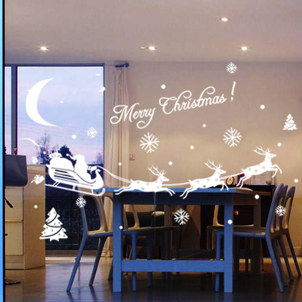 ciervos de la navidad decoracin de navidad de nieve de cristal de pared pegatinas etiquetas en