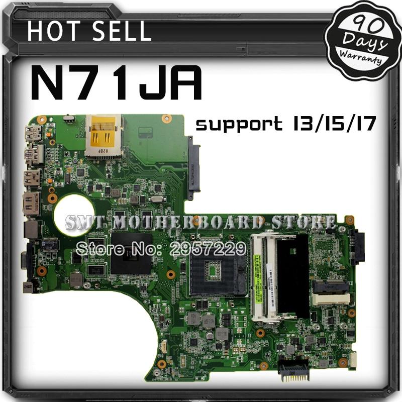 Original N71JA motherboard For Asus N71J REV2.0 Mainboard Support i3/i5/i7 Processor HD5730 1GB 216-0772003 100% Tested for asus u36jc motherboard with i3 380m 390m processor gt310m with 1gb ddr3 vram 100