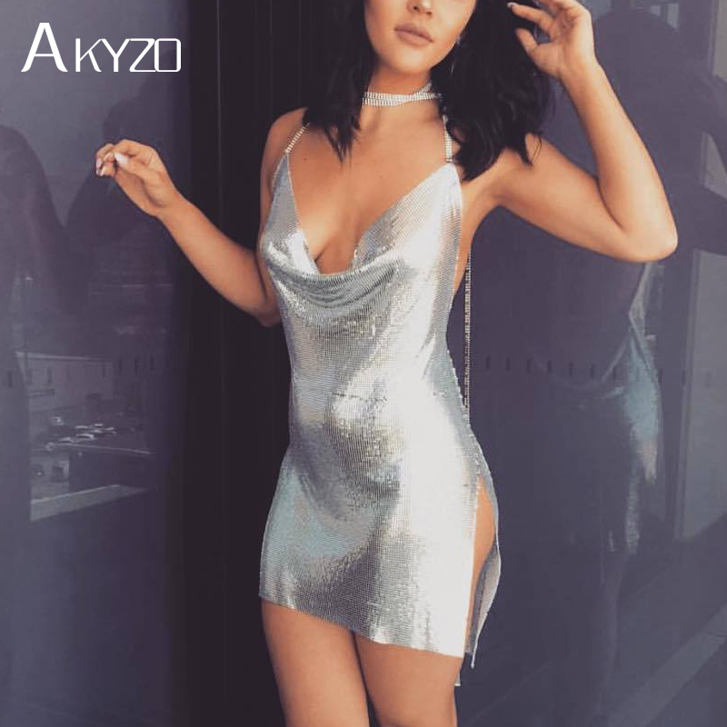 AKYZO 2017 Sexy Gold Sequined Patchwork Alloy Mini Dress Women Spaghetti Straps Bodycon Charming Nightclub Party Chain Dress sequined halter chain dress