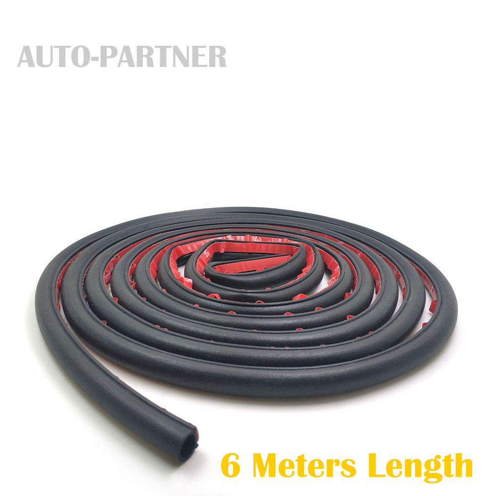 6 Meter/pcs small D 9*10mm car sound insulation sealing rubber strip anti Noise Rubber 3m Sticky Tape car door seal cawanerl car sealing strip kit weatherstrip rubber seal edging trim anti noise for nissan almera march micra note pixo platina