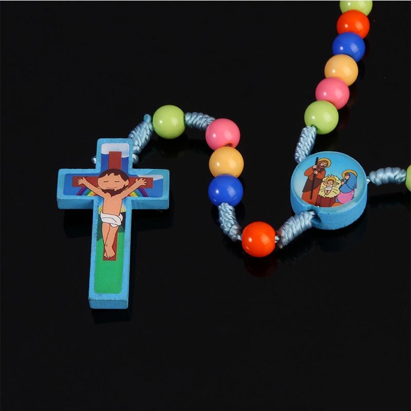 New Cartoon Jesus Cross Pendant  Handmade Braided Rope Colored Rosary  Necklace Child Girl Catholic Fashion Religious Jewelry
