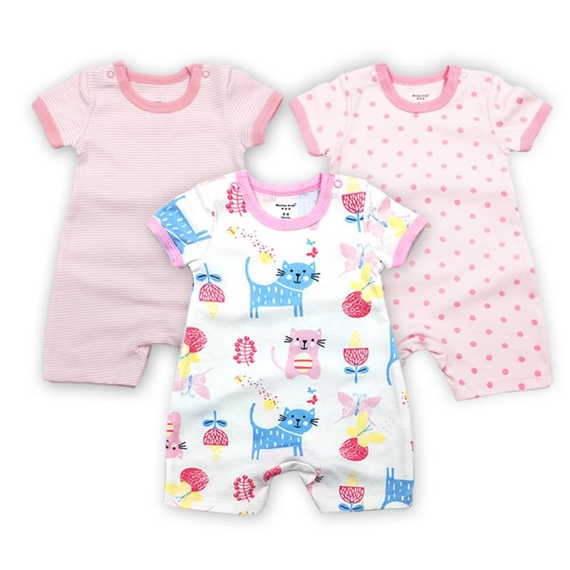 2018 mode babykleding baby romper grijs korte mouw cartoon jumpsuit - Babykleding - Foto 2
