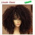 Súper ventas hermosa Natural Afro rizado peluca rizada pelo humano virginal brasileño rizado rizado pelucas delanteras del cordón Glueless negro Women