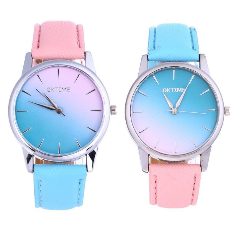 Fashion Women Candy Color Student Leather Strap Quartz Watch