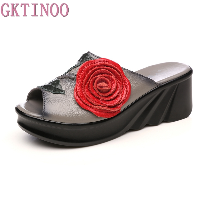 GKTINOO Flower Slippers Genuine Leather Shoes Handmade Slides Flip Flop Open Toe Platform Clogs For Women Sandal Slippers 2014 free shipping open toe hand sewing crystal chiffon flower pu insole comfortable pure white wedding flip flop