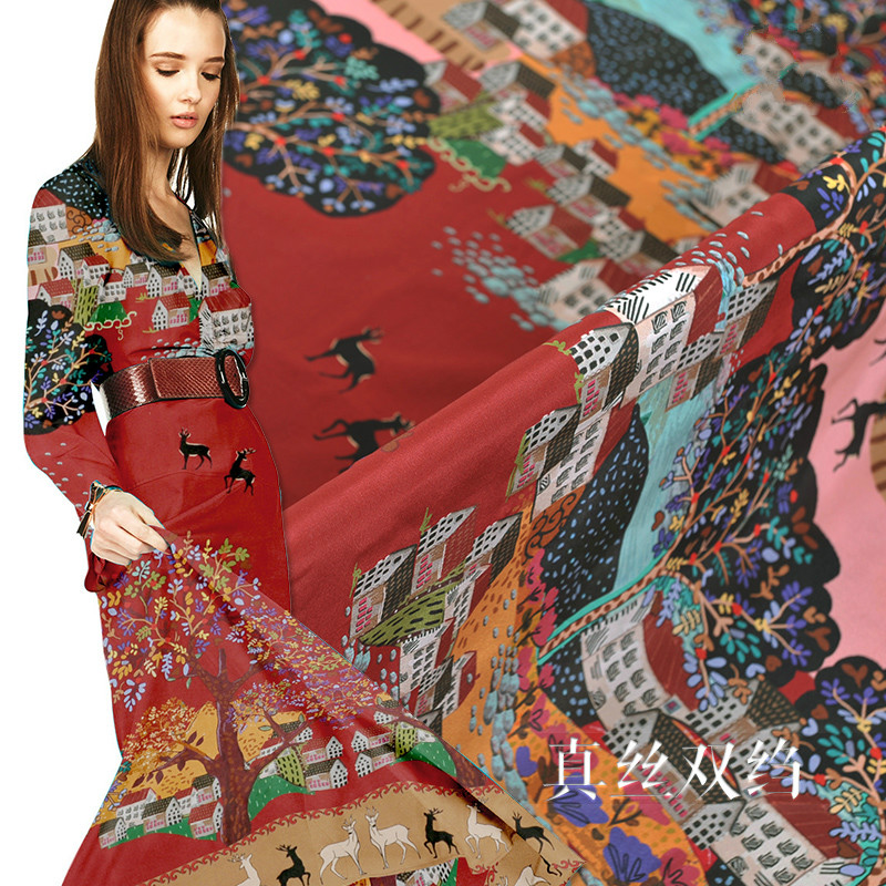 New positioning 140cm wide 16mm printed silk crepe de Chine cloth spring and summer natural silk