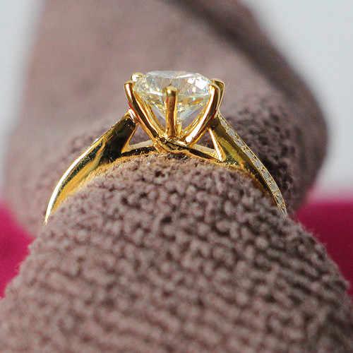 2Ct עגול לחתוך מבריק Moissanite טבעת מבחן חיובי אחריות יוקרה צהוב זהב צבע 925 סטרלינג כסף טבעת