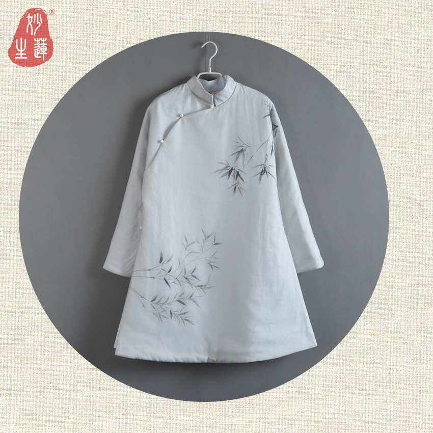 Nouveau coton femme longue Section Original Style chinois peint à la main grande Robe veste chinoise rétro vêtements pour femmes
