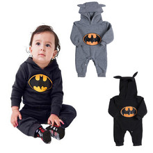 Emmababy High Quality New Born Baby Clothes Baby Boy Romper Cartoon Covered Button Hooded Long Sleeve Bat Print 2019 Hot Sale picturesque childhood new born baby boy clothes 3 1 covered buttono neck footies pajamas original cotton hot sale