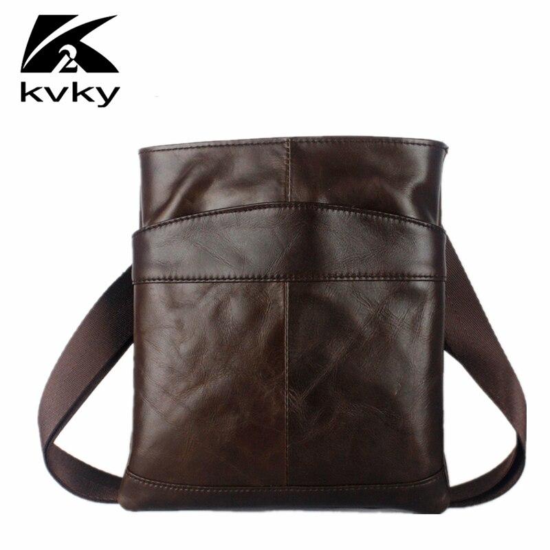 KVKY TOP Selling Genuine Leather Men Shoulder Bag Fashion Casual Men Messenger Crossbody Bag High Quality