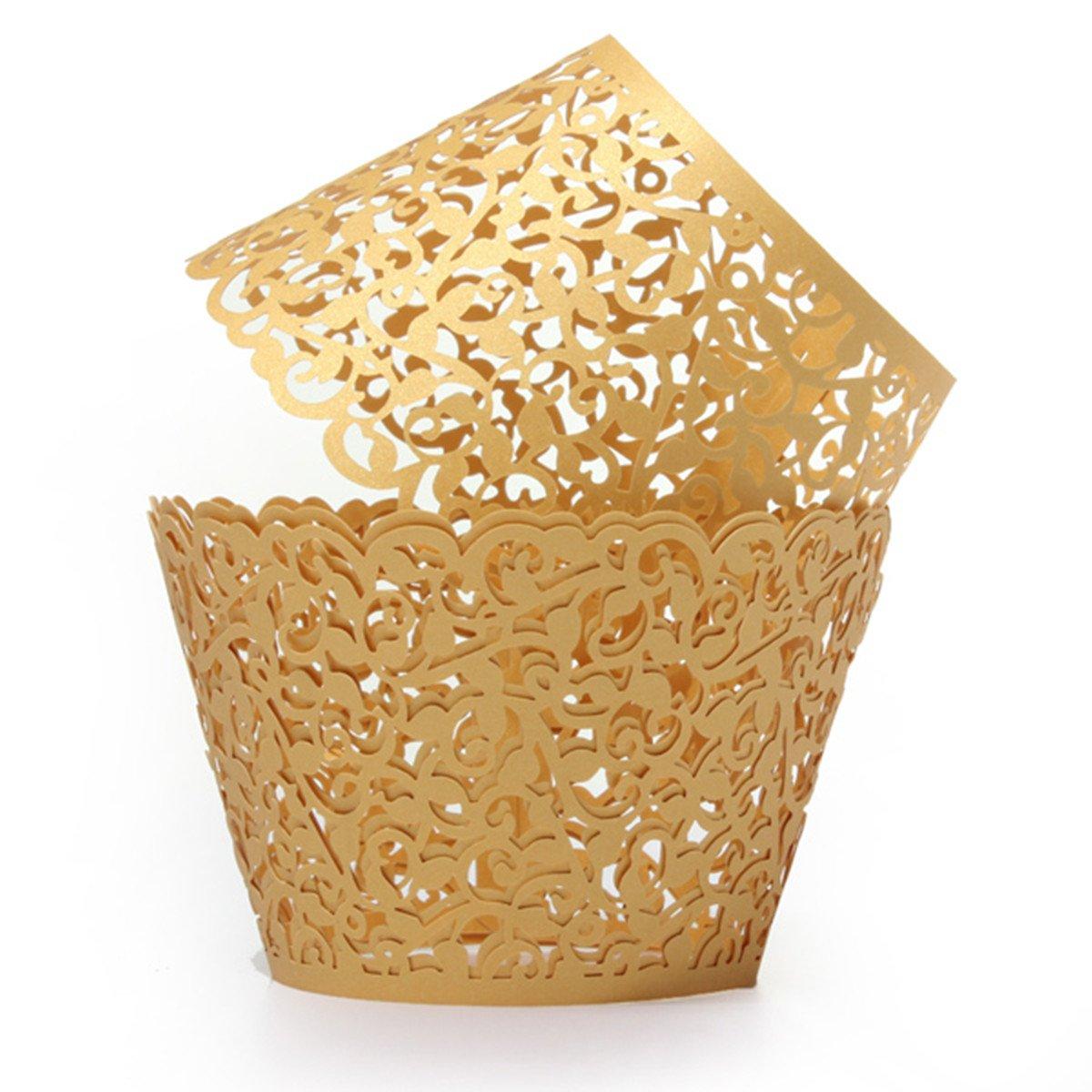 12X Filigree Vine Cake Cupcake Wrappers Wraps Cases Wedding Birthday ...